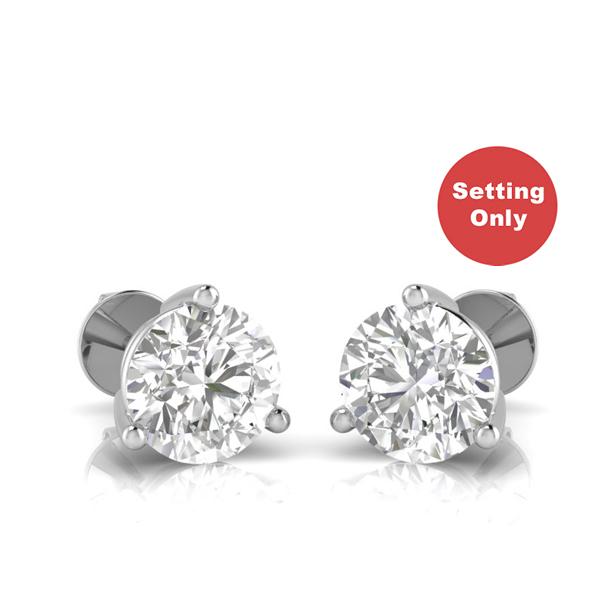 e8c2ebc3679659 BD Signature 3-prong diamond earring settings in 18k gold / platinum ...